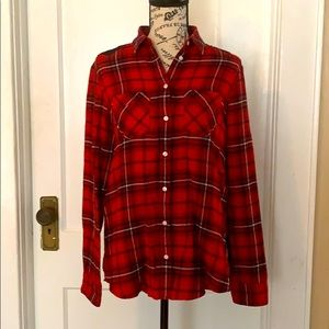 EXPRESS Lace Back Flannel Top